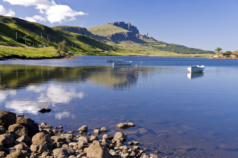 Old Man of Storr on the Isle of Skye in Scotland stock images