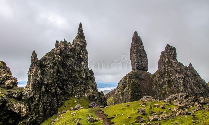 Old Man of Storr, Isle of Skye, Scotland, on a cloudy summer day. stock photos
