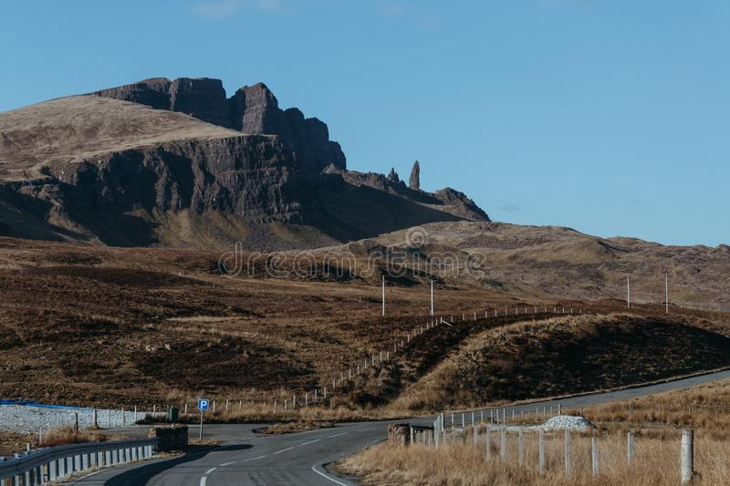 The Old Man of Storr and other rock pinnacles on Isle of Skye, Scotland stock photos