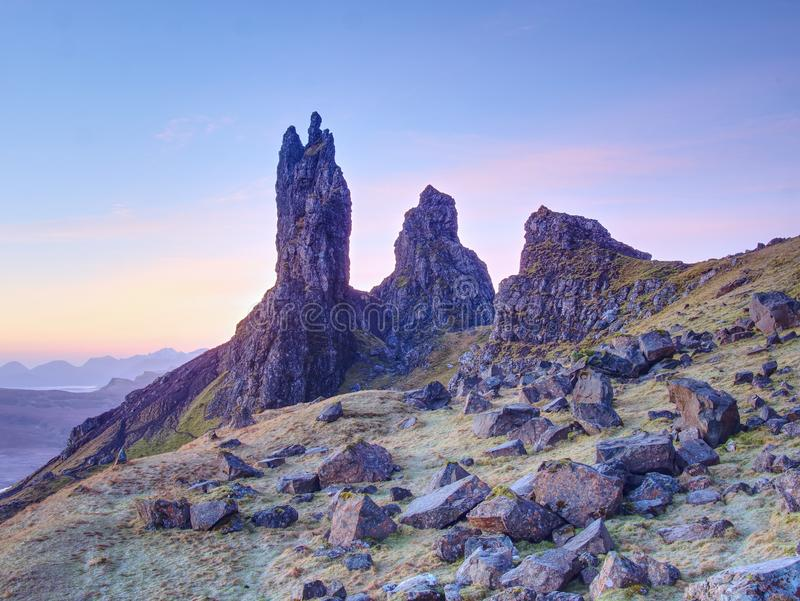 Old Man of Storr rocks with clear sky Isle of Skye Scotland, February morning. Old Man of Storr rocks with clear sky Isle of Skye Scotland, cold February morning royalty free stock images