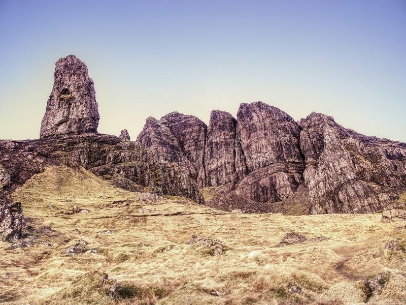 Old Man of Storr rocks with clear sky Isle of Skye Scotland, February morning. Old Man of Storr rocks with clear sky Isle of Skye Scotland, cold February morning stock image