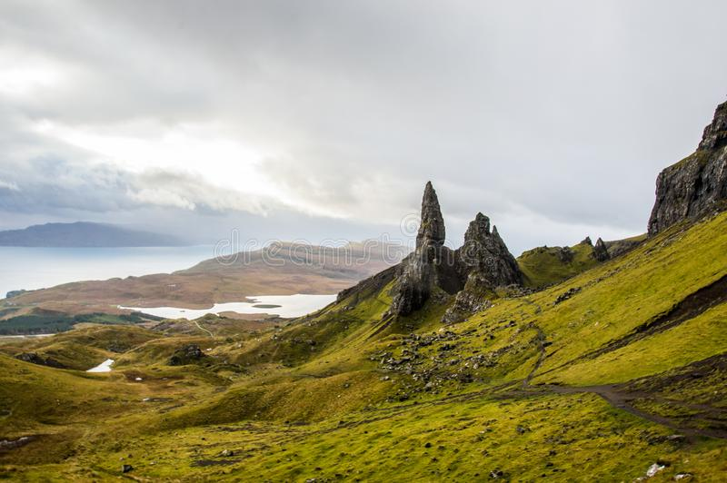 Old Man of Storr in Scotland, isle of Skye stock photography