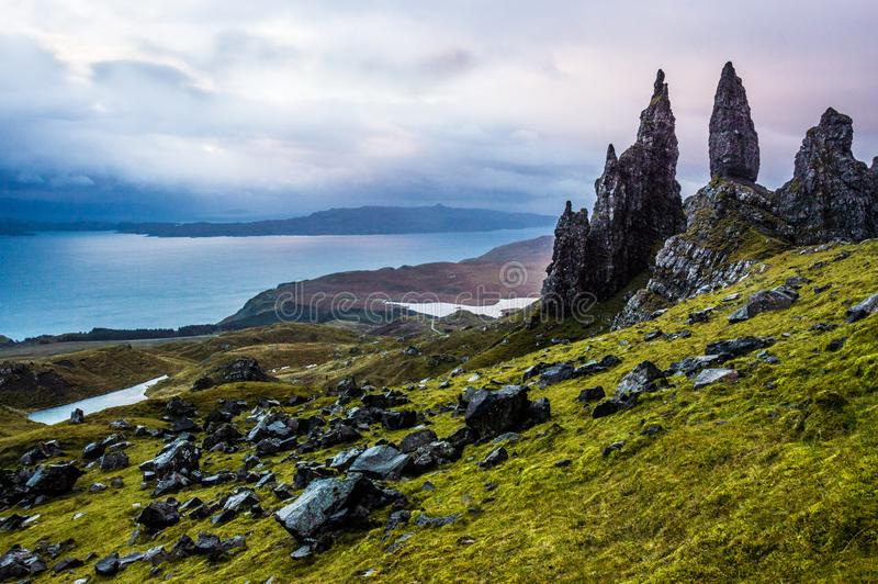 Old Man of Storr in Scotland, isle of Skye royalty free stock images