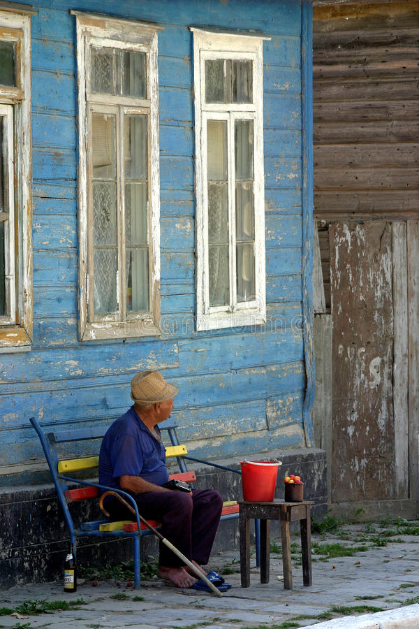 Old man in Sulina, Romania stock images