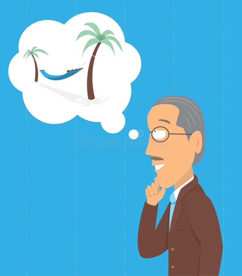 Old man thinking of a hammock vector illustration