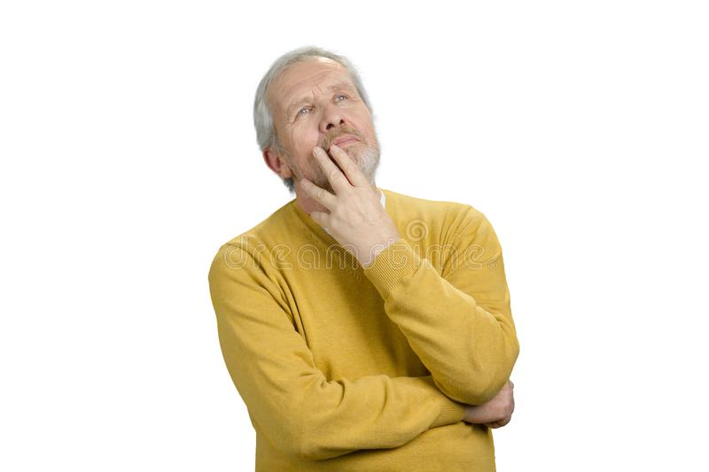 Old man thinking. royalty free stock photography