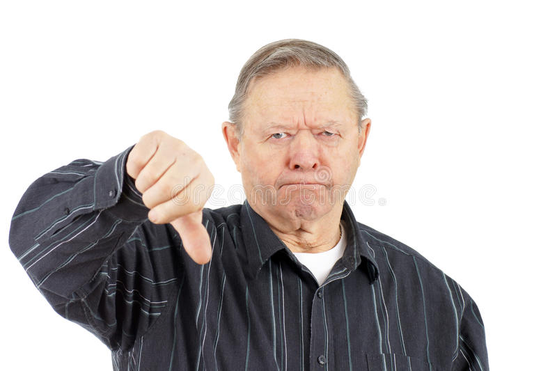 Download Old man thumbs down stock photo. Image of finger, grumpy - 23725778