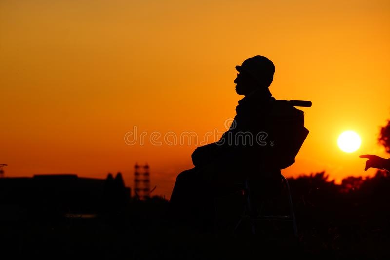 Old man twilight is royalty free stock photos