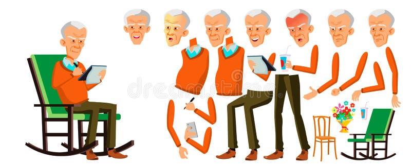 Old Man Vector. Asian Senior Person Portrait. Elderly People. Aged. Animation Creation Set. Face Emotions, Gestures vector illustration
