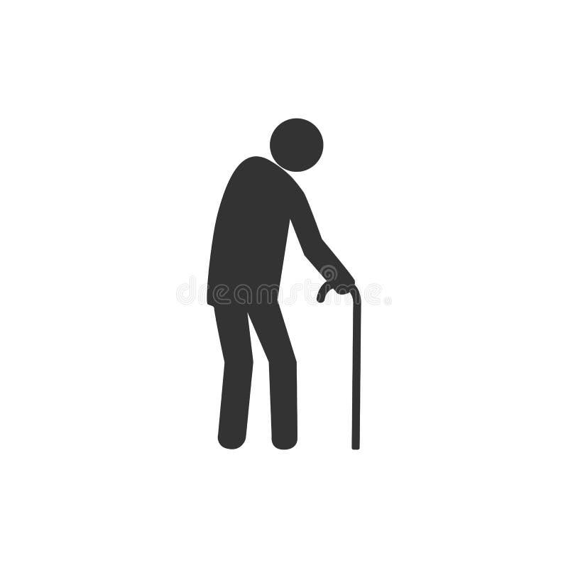 Old man, walker icon. Vector illustration, flat design. stock illustration