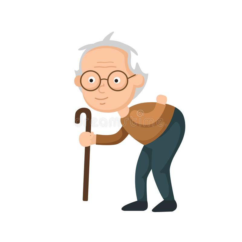 Old man walking with a cane stock illustration