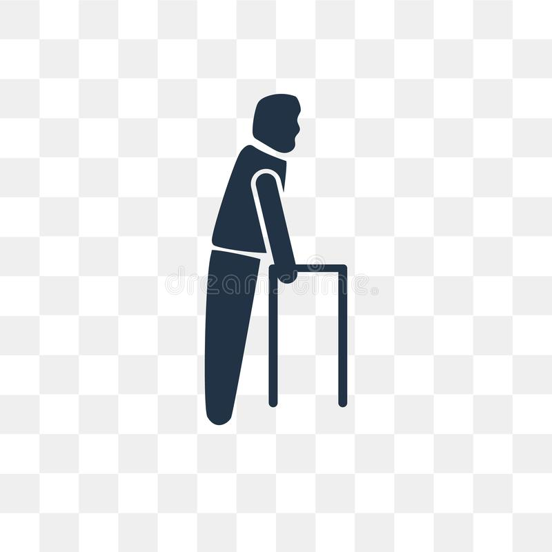 Old Man Walking vector icon isolated on transparent background, stock illustration