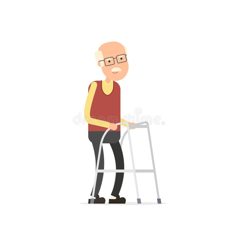 Old Man Walking With Zimmer Frame Stock Vector - Illustration of ...