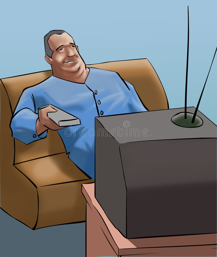 Download A old man watching tv stock illustration. Illustration of happy - 7170508
