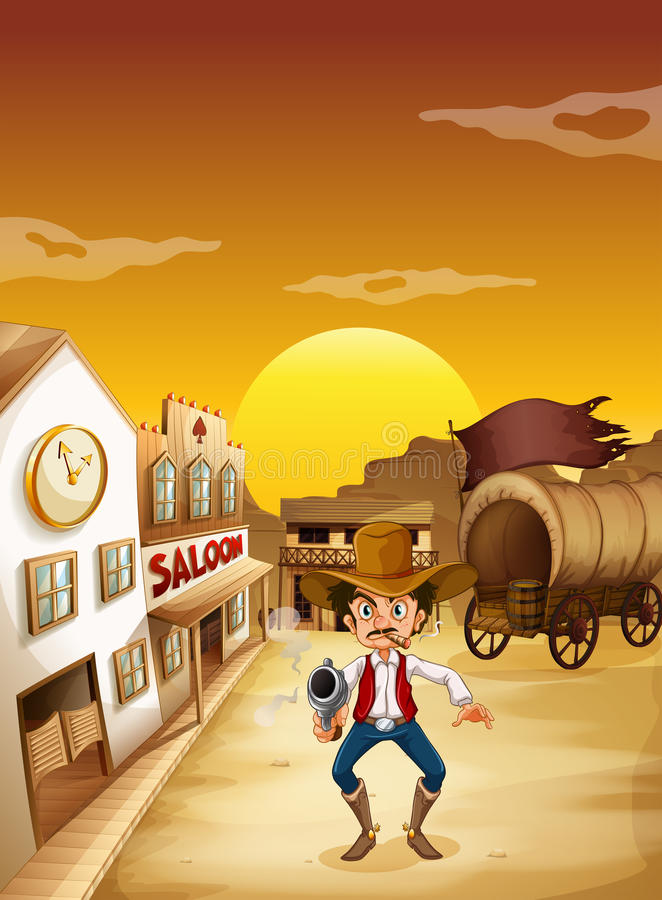 An old man wearing a hat holding a gun outside the saloon stock illustration