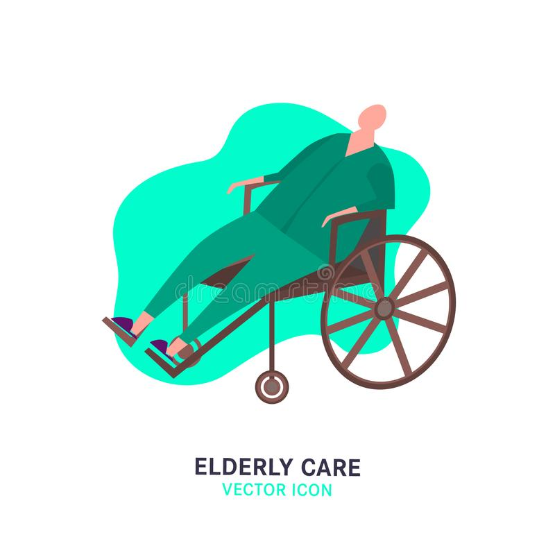 The old man in a wheelchair. Elderly people problem. Nursing house. Medicine, healthy lifestyle concept. Editable vector illustration in pink, green, brown stock illustration