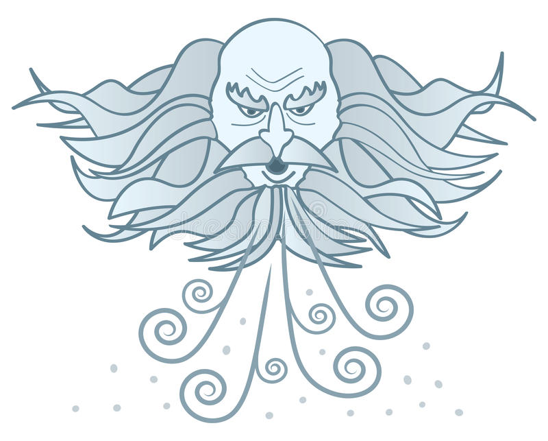 Old Man Winter. A cartoon image of a cloud-like old man winter blowing cold wind and snow