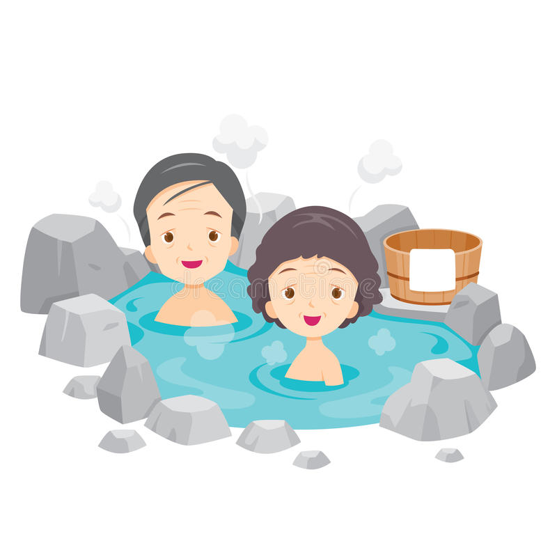 Old Man And Woman Relaxing In Hot Spring. Bath Onsen Japanese Culture Healthy Season Body vector illustration