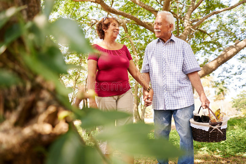 Old Man Woman Senior Couple Walking With Picnic Basket royalty free stock images