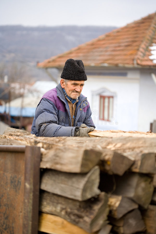 Download Old man at work stock photo. Image of trailer, outside - 8277458
