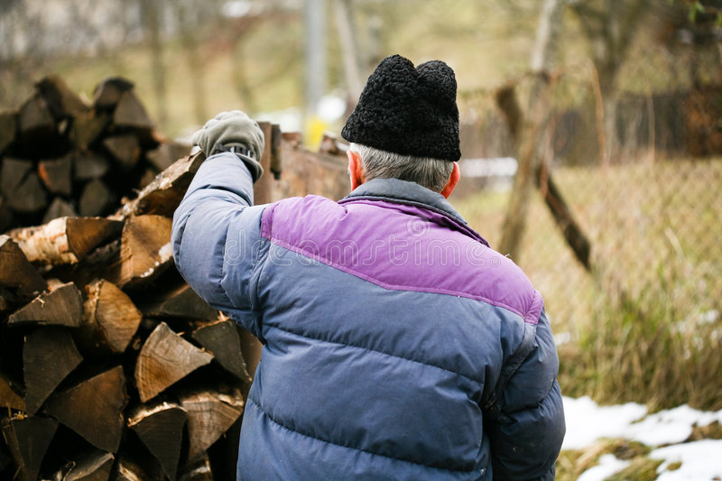 Download Old man at work stock image. Image of load, cold, senior - 8277487