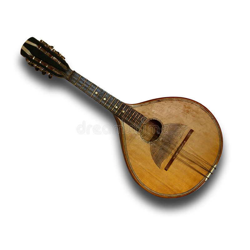 Old mandolin. Old, worn out mandolin (path included stock photos