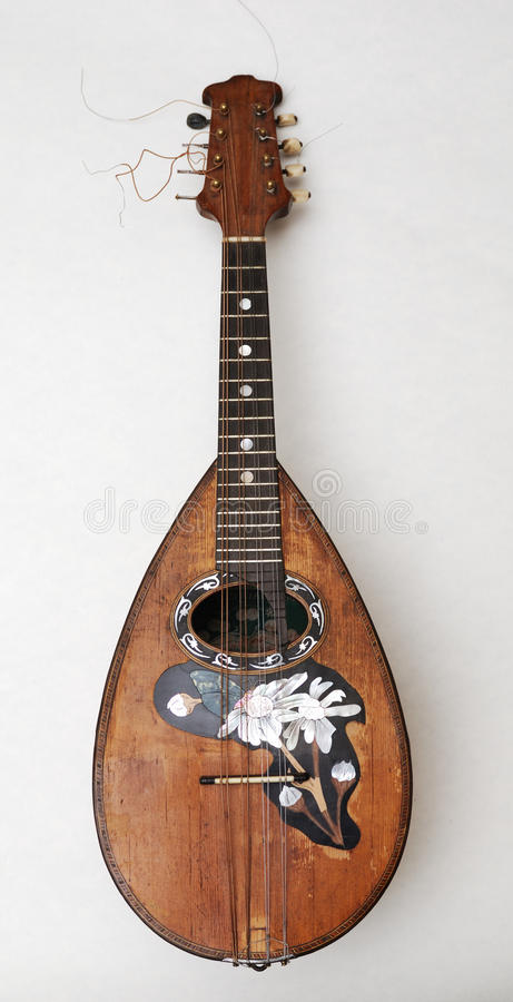 Old mandolin with pearl incrustation royalty free stock photos