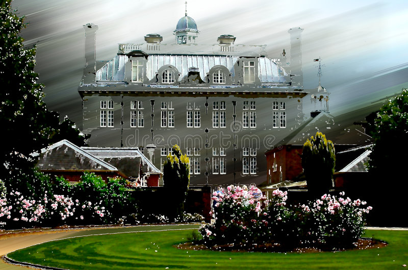 Old Manor House or Mansion stock illustration