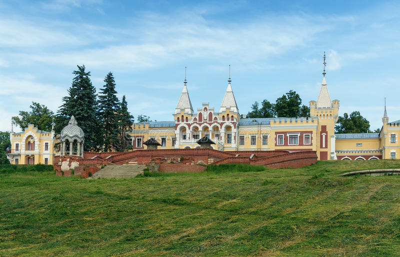Old manor house in village. Central Russia. Old manor house of Baron von Derviz in Kiritsy village. Ryazan region, Central Russia stock photo