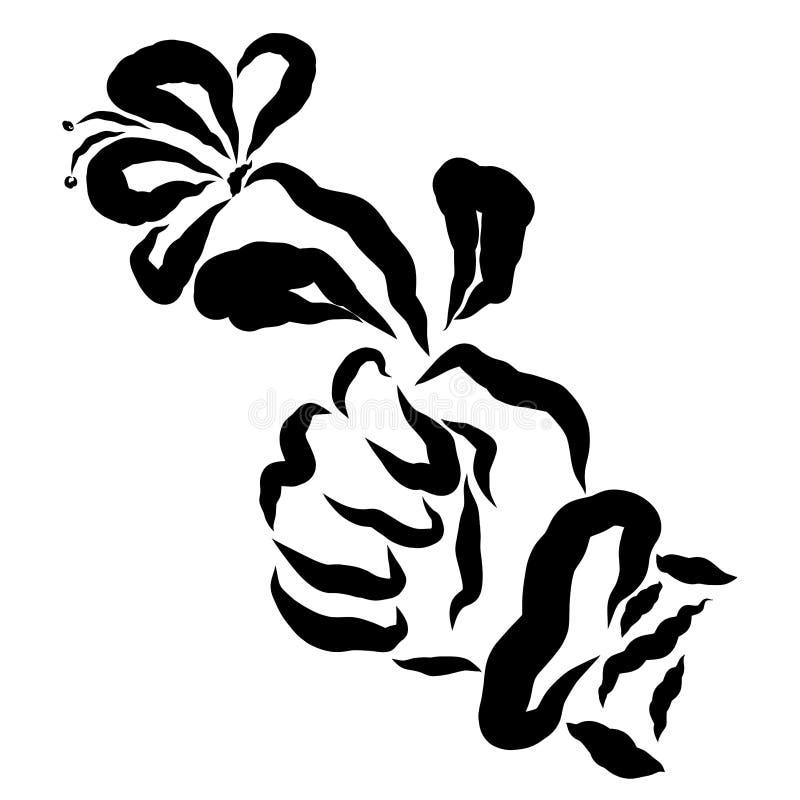Old mans wrinkled hand holding a flower.  vector illustration