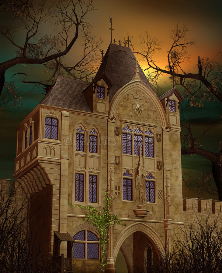 Download Old mansion stock illustration. Illustration of night - 15968434