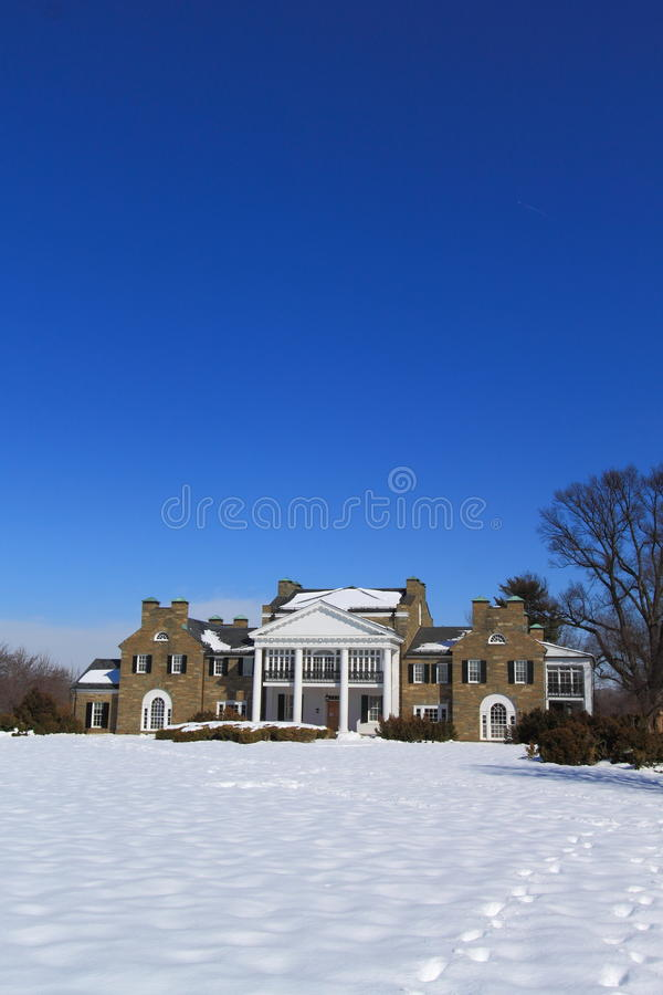 Old Mansion with Snow Ground royalty free stock photography