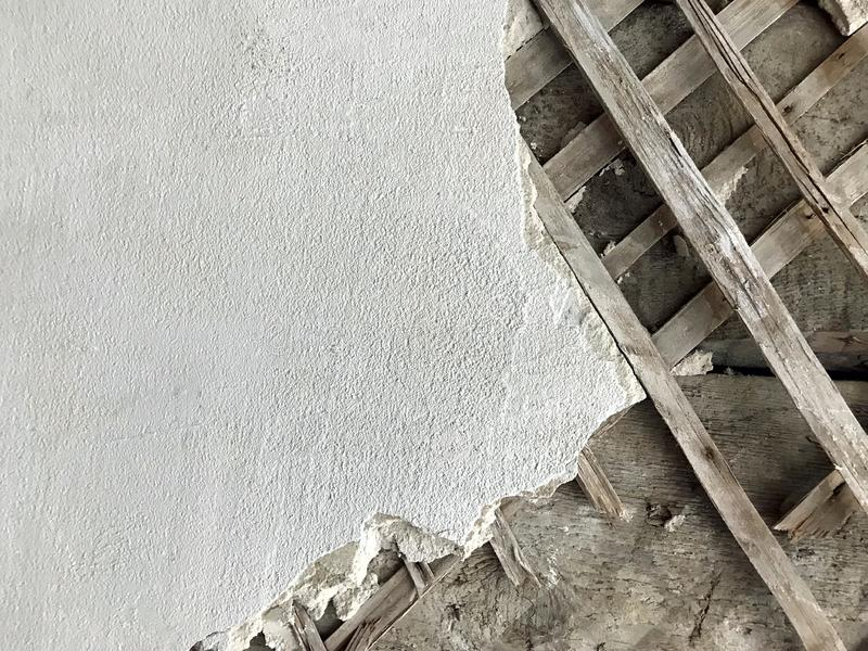 Old Mansion Wall - Stucco Shingles indoor stock photography