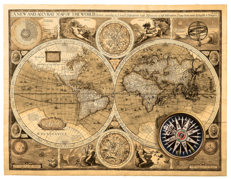 Old map (1626) stock photos