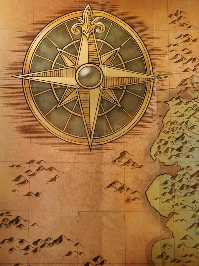 Old map. Very old map with compass royalty free stock images