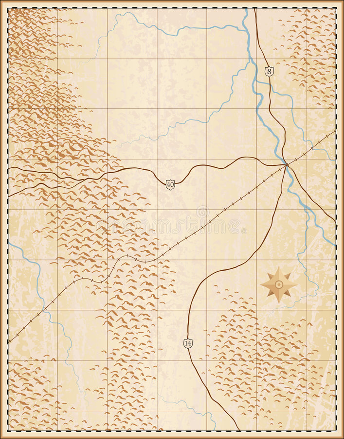 Download Old map stock illustration. Image of copy, mountain, river - 5529593