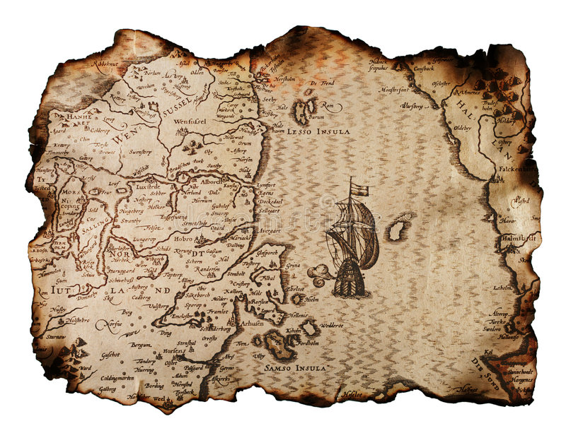 Old map. Old nautical map with burned edges isolated on white