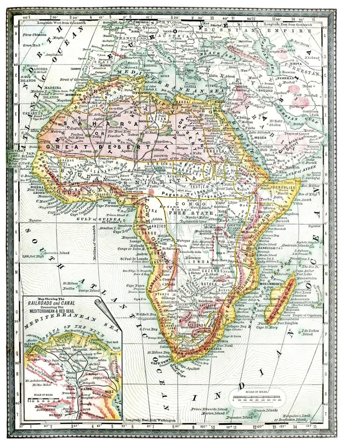 Old Map of Africa. stock photos