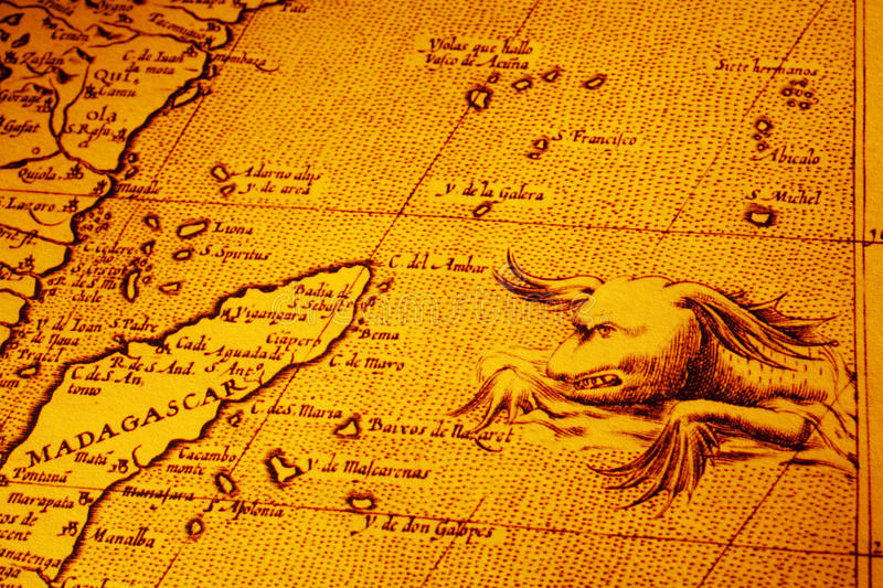 Old Map of Africa Madagascar With Sea Monster. Old map showing Madagascar and the east coast of Africa, and a sea monster. Map is from 1600 and is out of royalty free stock images
