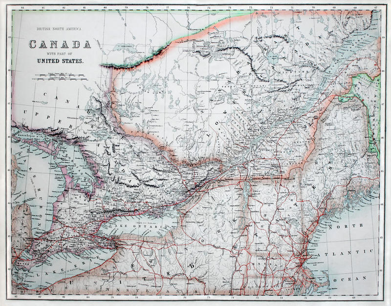 Old Map Of America Canada Stock Photo Image Of Geographic - Old map of canada