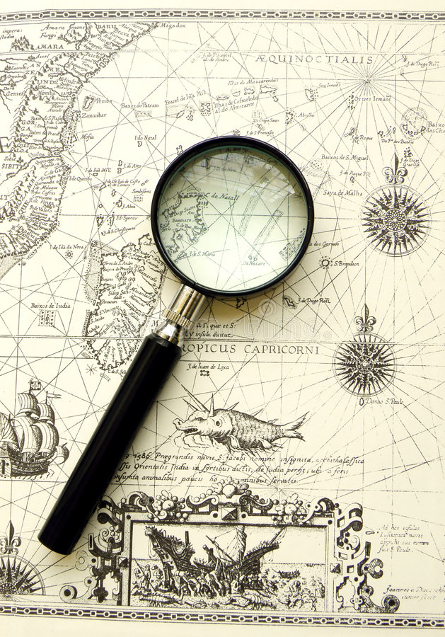 Old Map - Ancient Sea Chart, Magnifier Royalty Free Stock Photo