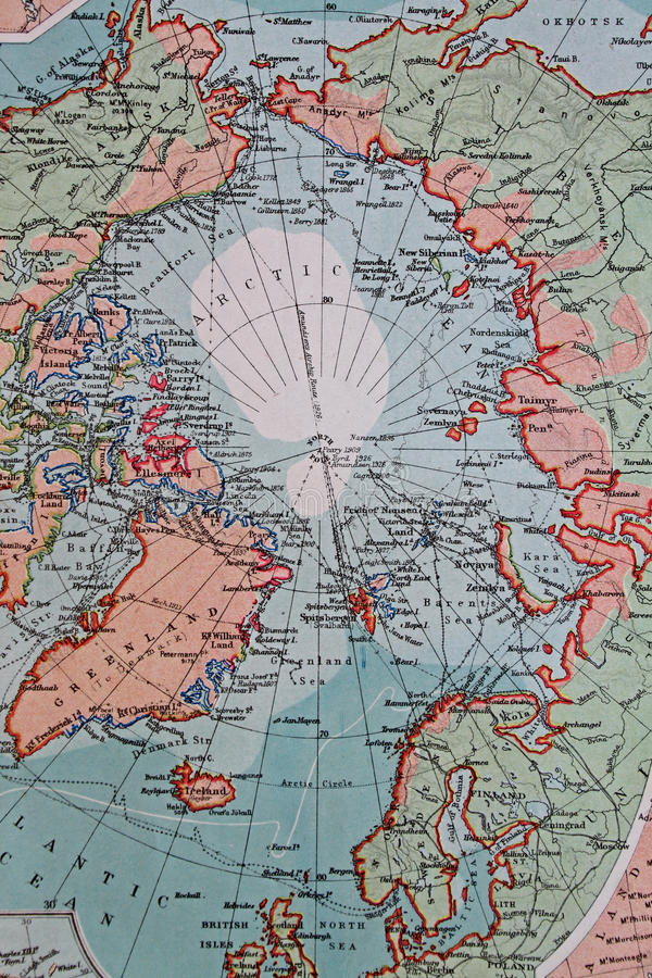 Old 1945 Map of Arctic Regions, including Greenland stock illustration