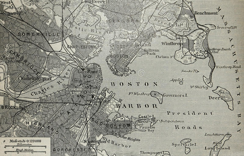 Old map of Boston harbor royalty free stock photo