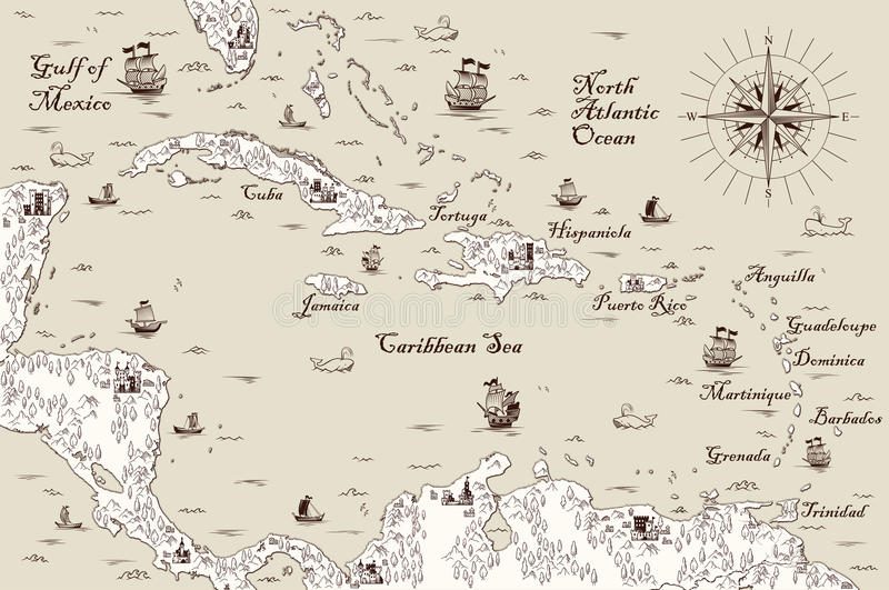 Old map of the Caribbean Sea, Vector illustration. Pirate treasure map royalty free illustration