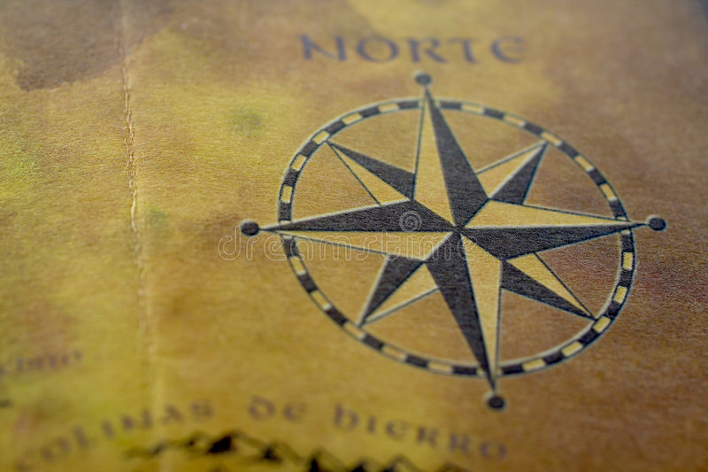 Old map with compass. Macro