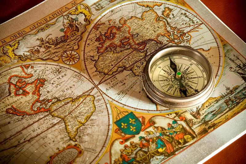 Old Map and Compass Concepts royalty free stock photo