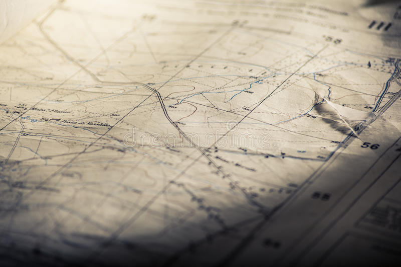 Old map. Detail of an old and worn military map royalty free stock photography