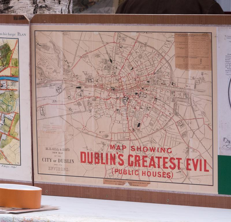 Old map of Dublin, Ireland showing locations of pubs. Old map of Dublin in Ireland. Showing locations of evil pubs / public houses called Dublin`s greatest evil royalty free stock photography