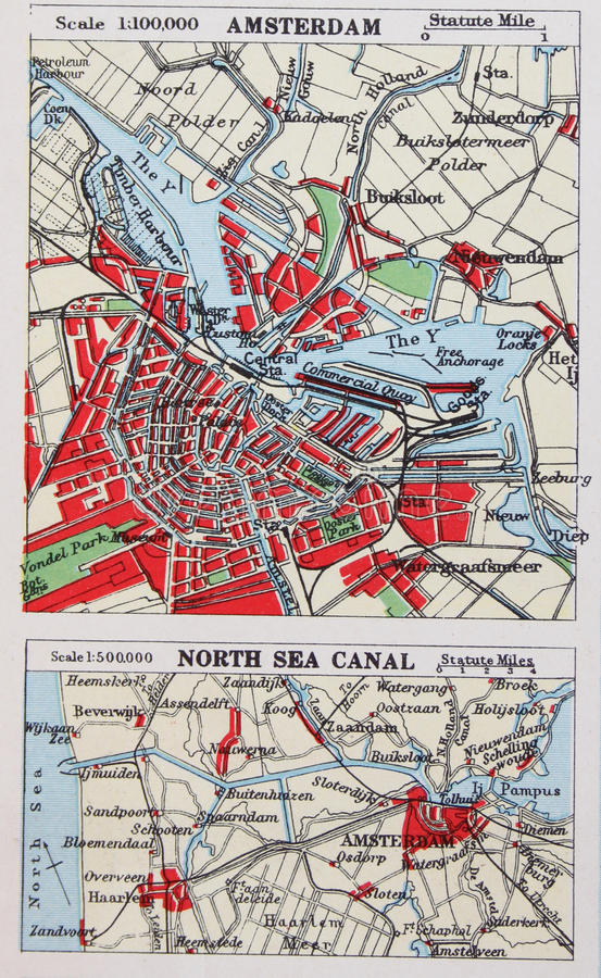 Download Old 1945 Map Of The Environs Of Amsterdam, Holland. Stock Illustration - Image: 47415969