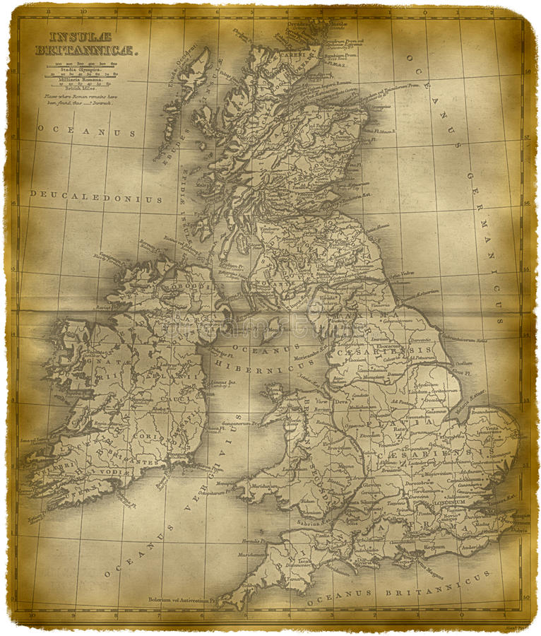 Old Map Of The Great Britain Stock Illustration ...